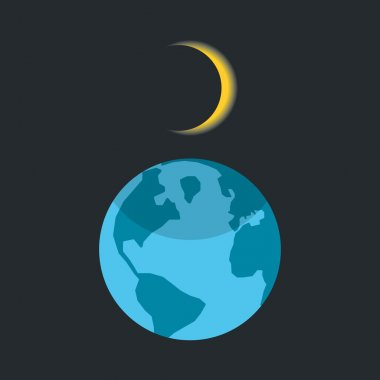 solar eclipse with shadow on planet earth