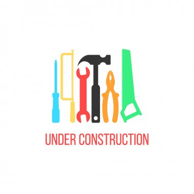 under construction logotype with colored tools
