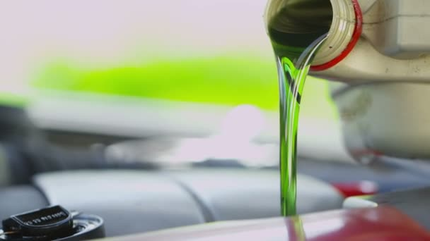 Fresh clean oil being poured into a car engine