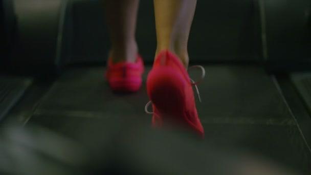 Giovane donna che cammina su un tapis roulant