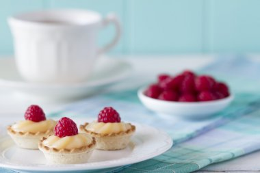 Three tartlets with raspberries and custard on a white plate over a blue checkered tablecloth. Tea time. A white wooden table with a robin egg blue background. Vintage look.