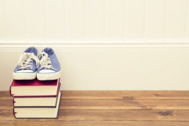 A pair of blue sneakers on a stack of books.