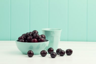 cherries in a turquoise bowl