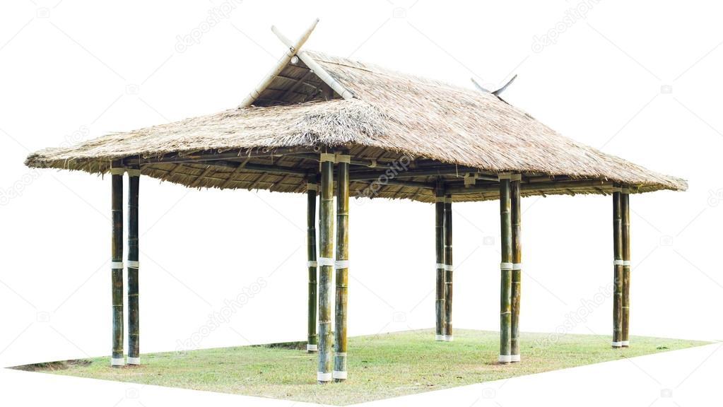 Thailand Bambus Pavillon Zu Isolieren Auf Weissem Hintergrund