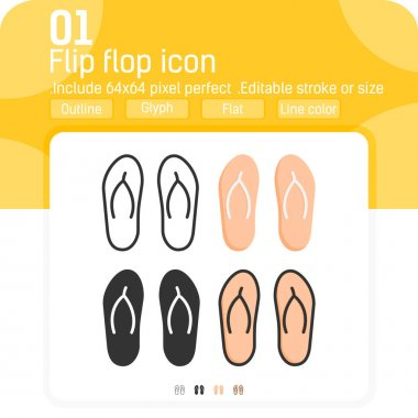 Flip flop vector icon with flat style isolated on white background. Graphics illustration trendy element thin icon pack sign symbol for ui, ux, web site design, logo, mobile apps and all project. icon