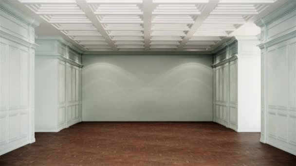 blank classic room interior background ,empty white classic walls and wooden floor, zoom in shot, video ultra HD 4K 3840x2160, 3D animation