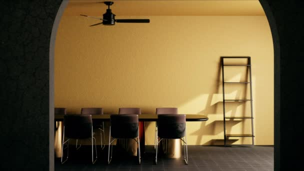 room mock up modern classic style. yellow room with wooden chair and table. yellow room design. video ultra HD 4K 3840x2160, 3D animation