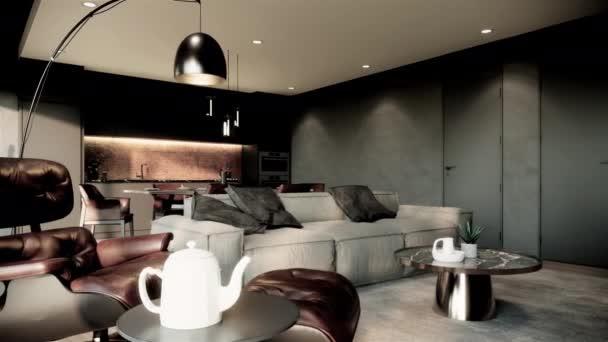 interiér moderního pokoje s nábytkem. moderní bytový styl. rotující záběr videa 4k animace