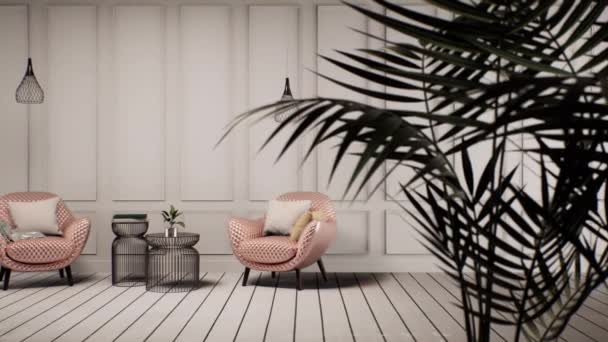 interior of classic living room with furniture and white wall, pan left shot, video 3D animation
