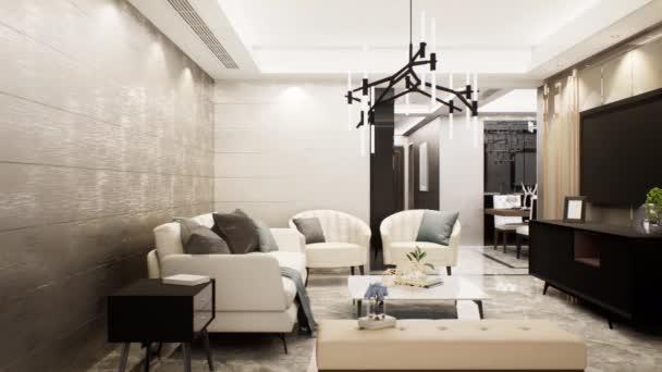 Luxuswohnzimmereinrichtung, Schwenkrecht, 3D-Animation