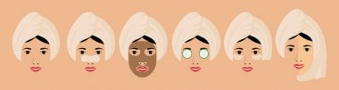 Young european girl wrapped in a towel on her head with various types of cosmetic masks on her face. Set of six vector stock flat illustrations for face care cosmetology.
