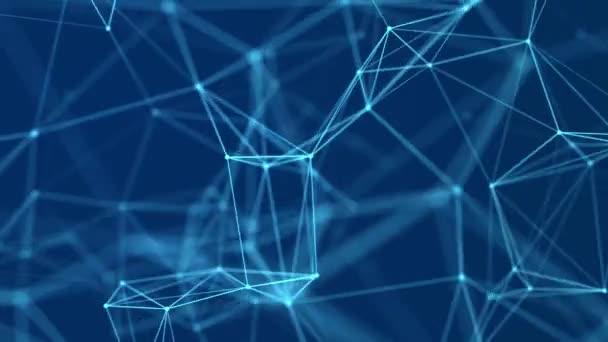 Absztrakt kék háttér mozgó vonalakkal és pontokkal. Hálózati kapcsolat szerkezete. Adatcsere. 3D varrat nélküli hurok.