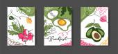 Frühstück Wandzeile Kunst Dekoration. Plakat mit Eiern, Rettich, Avocado. Set von Vektorillustrationen, eine durchgehende Linienzeichnung von Frühstücksspeisen für Küche oder Café-Dekor