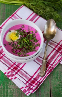 Beetroot soup. Holodnik. Cold soup made from beets, cucumbers, e