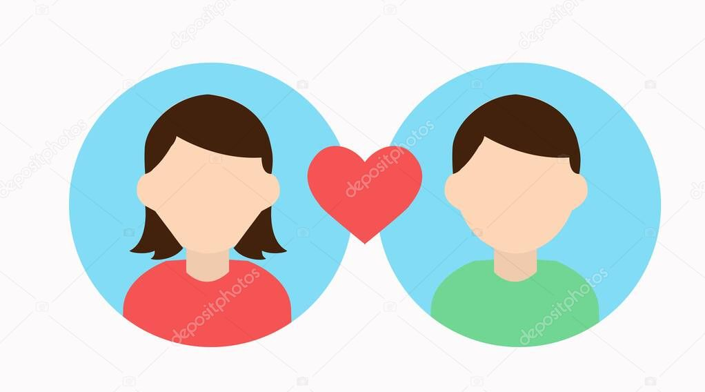 Vector Isolated Illustration. Match Icon, Couple Icon icon
