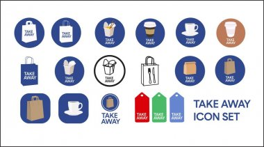 Vector Isolated Take Away Icon Set or Collection. Different Color Take Away Food Icon Set icon