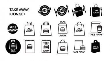 Vector Isolated Take Away Icon Set or Collection. Black and White Take Away Food Icon Set icon