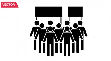Demonstration Icon. Vector isolated illustration of a crowd, people or demonstration icon