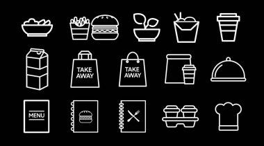 Black and White Food Icon Set. Vector Isolated Illustration icon