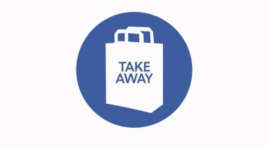 Vector Take away bag icon illustration sign. Blue take away icon icon