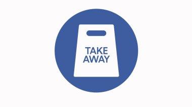 Vector Take away bag icon illustration sign. Blue take away icon icon