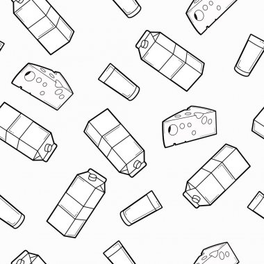 Vector Seamless Pattern Milk Box and Cheese Background or Wallpaper icon
