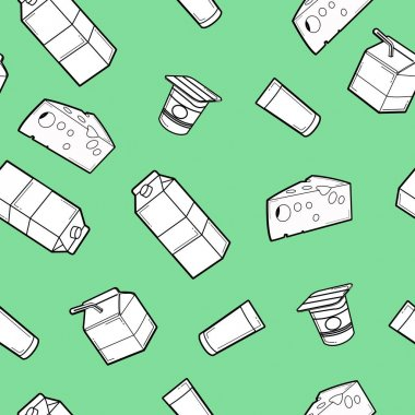 Vector Seamless Pattern Milk Box, yoghurt and Cheese Background or Wallpaper icon