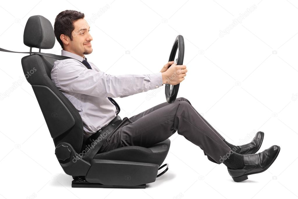 Man driving seated on a car seat — Stock Photo © ljsphotography