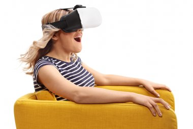 Woman experiencing virtual reality