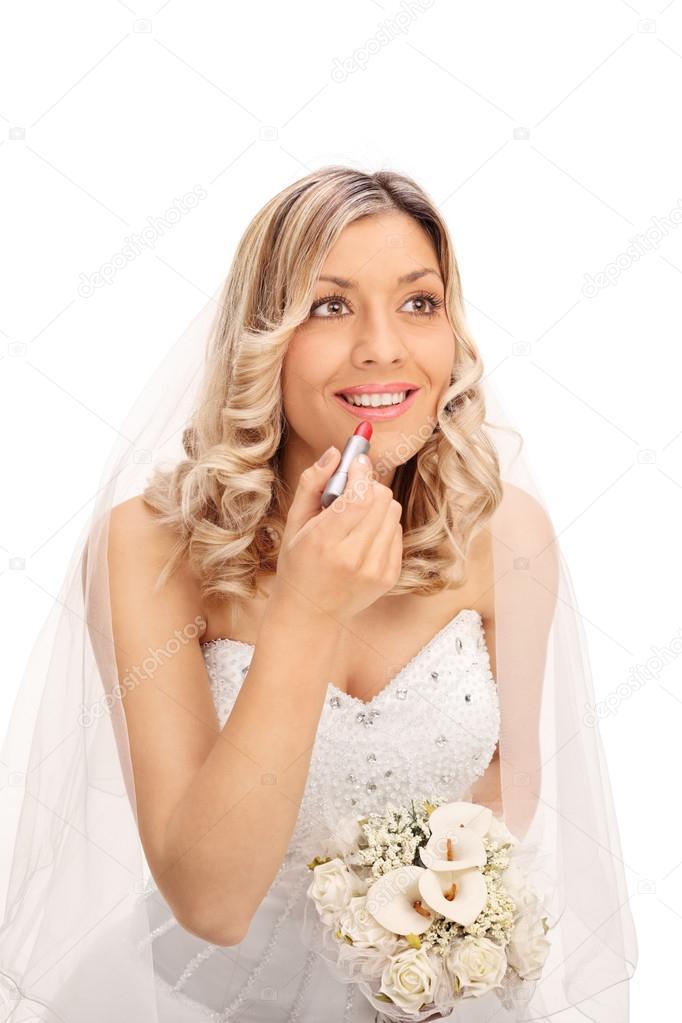 Bruid Lippenstift Toe Te Passen Op Haar Lippen Stockfoto
