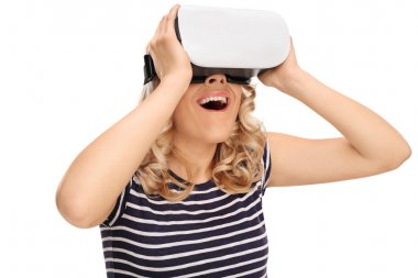 Joyful woman experiencing virtual reality