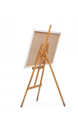 Wooden easel with a canvas on it
