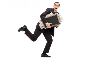 Businessman with bag full of money