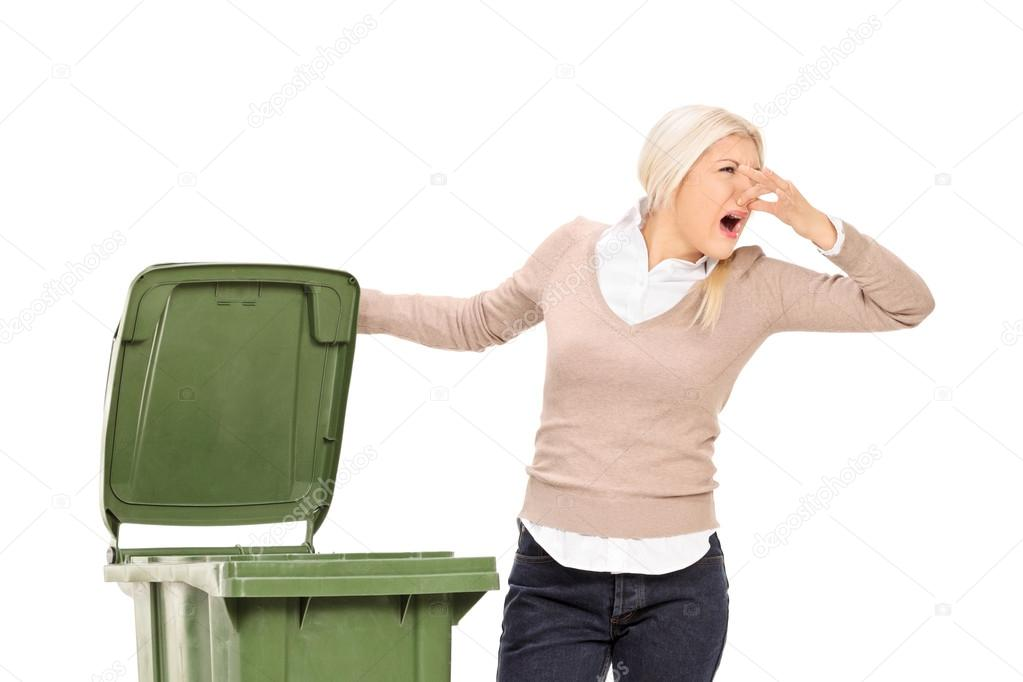 Depositphotos Stock Photo Woman Opening Stinky Trash Can Garbage