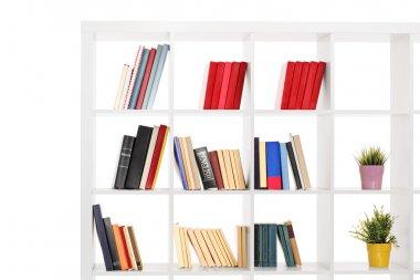 White wooden bookshelf