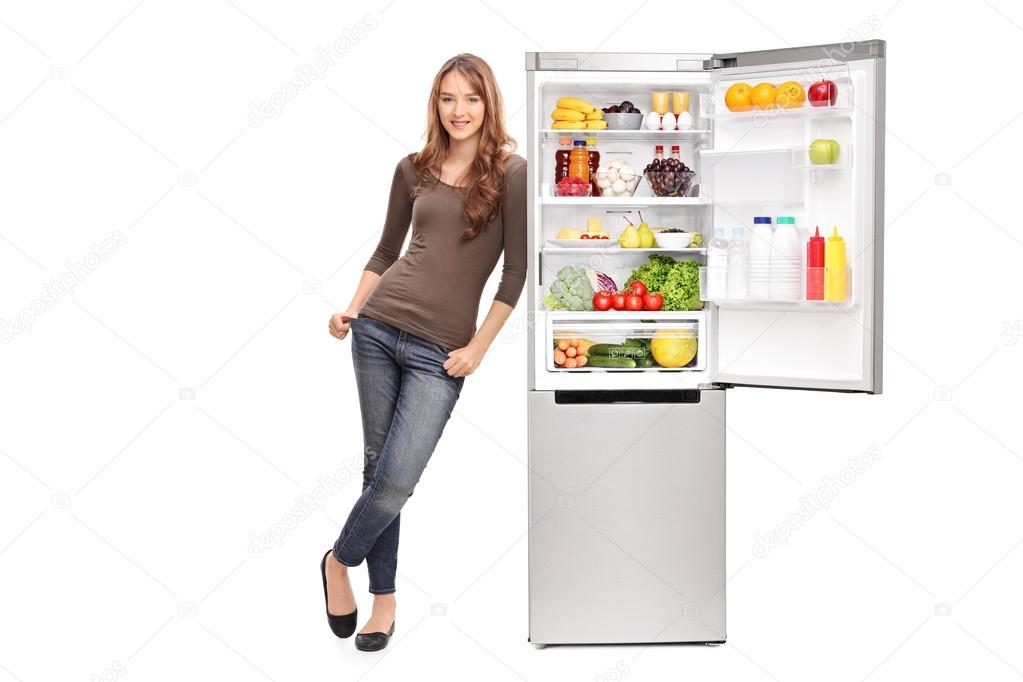 Image result for refrigerator photo with girl