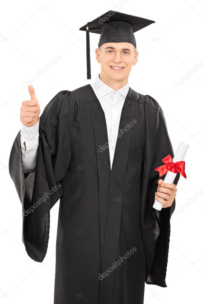 College-Absolvent einen Daumen aufgeben — Stockfoto © ljsphotography ...