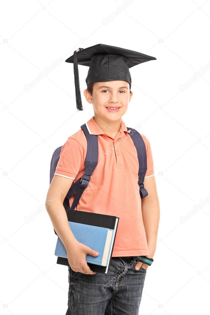 Schüler Mit Einem Abschluss Hut Hält Bücher Stockfoto