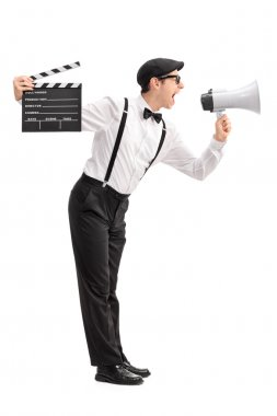 Movie director shouting on a megaphone