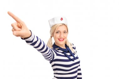 Beautiful female sailor pointing up