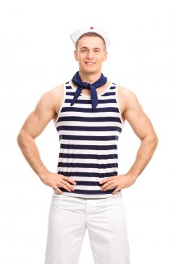Handsome sailor posing on white background