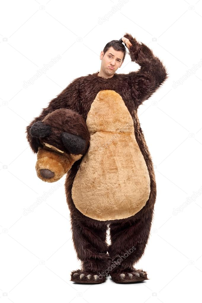 Confused man in bear costume