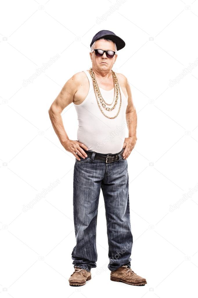 27feb313c Senior hombre en ropa de hip-hop — Fotos de Stock © ljsphotography ...