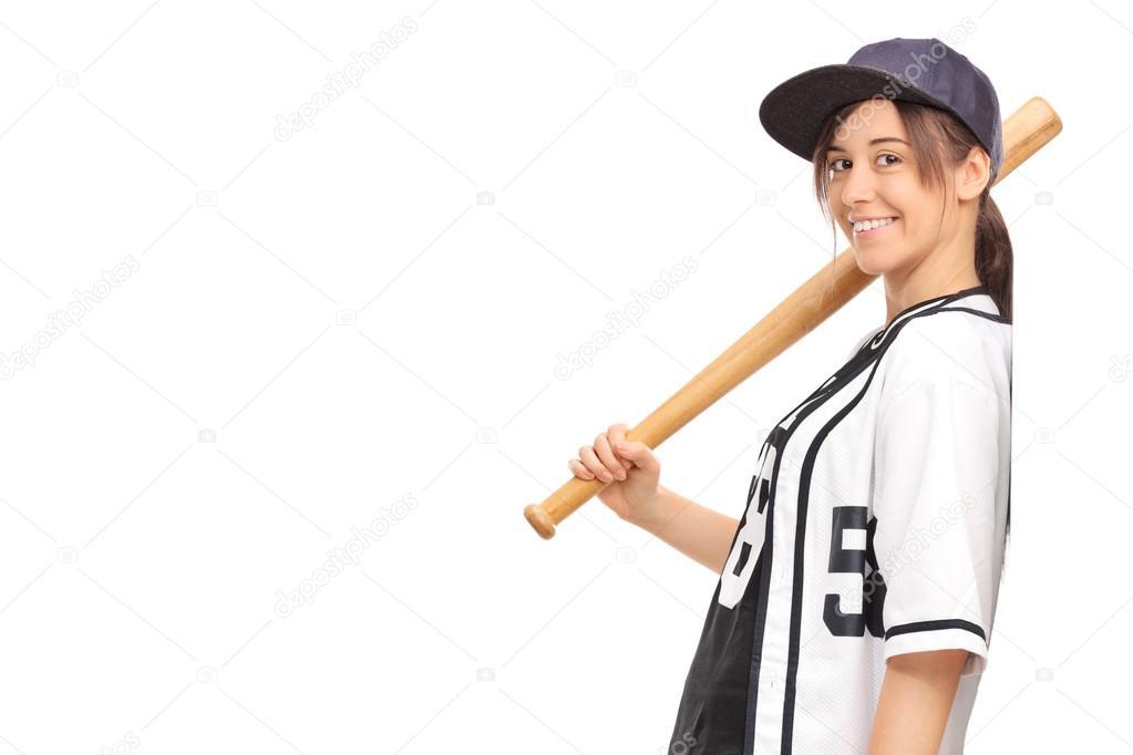 Frau in ein Baseball Trikot halten Fledermaus — Stockfoto ...