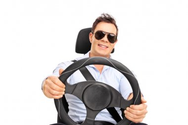 Cool young man with sunglasses pretending to drive and looking at the camera isolated on white background stock vector