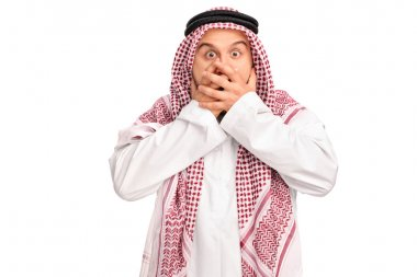 Shocked Arab covering his mouth
