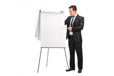 Young businessman presenting something