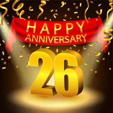 Happy 26th Anniversary celebration with golden confetti and spotlight