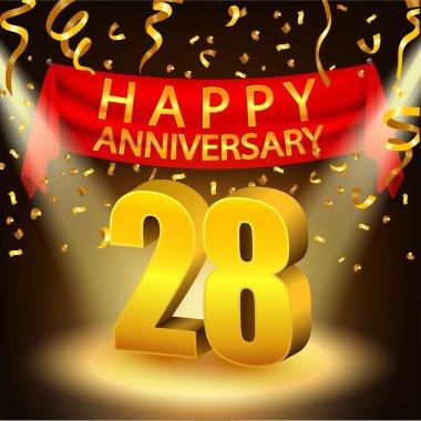 Happy 28th Anniversary celebration with golden confetti and spotlight