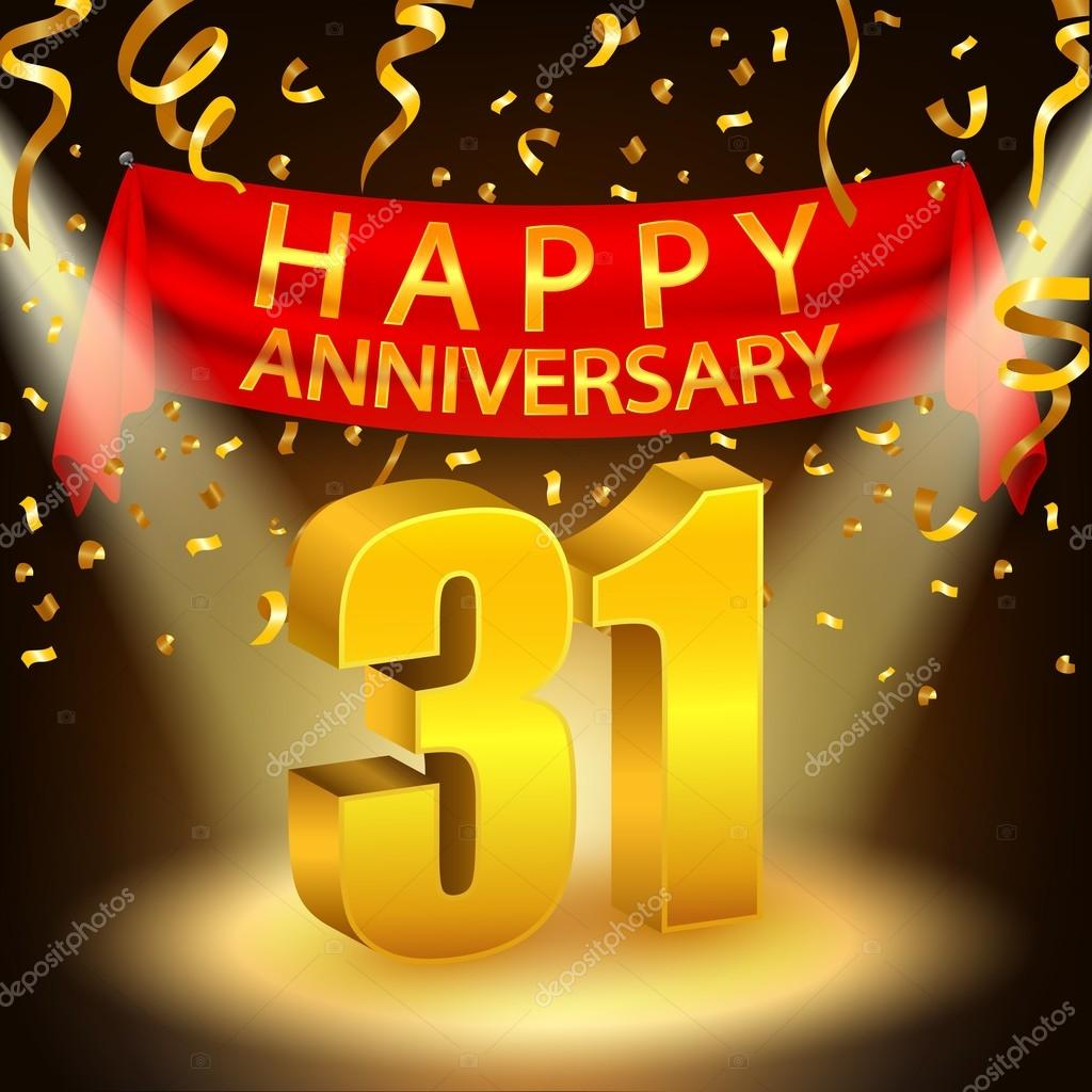 Happy 31st Anniversary Celebration With Golden Confetti And